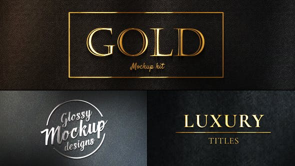 Thumbnail for Gold Mockup Kit - Glossy Logo & Titles