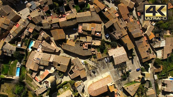 Thumbnail for Medieval Gothic Stone Town Aerial Drone View