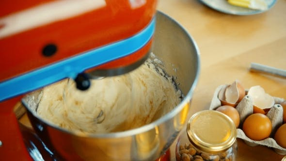 Thumbnail for View of Red Mixer Blending the Dough, Ingredients in Big Bowl Confectioner Cooking the Desserts