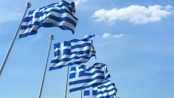 Cover Image for Row of Waving Flags of Greece Agaist Blue Sky