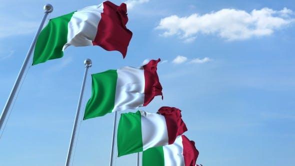 Thumbnail for Row of Waving Flags of Italy Agaist Blue Sky