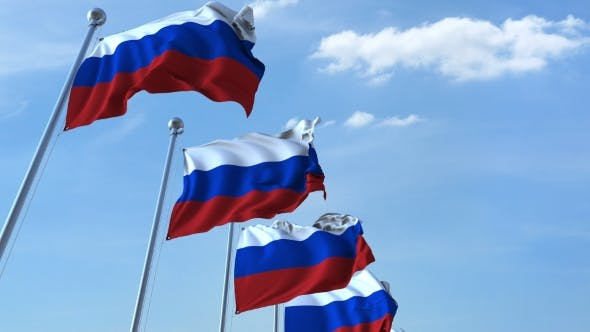 Thumbnail for Row of Waving Flags of Russia Agaist Blue Sky