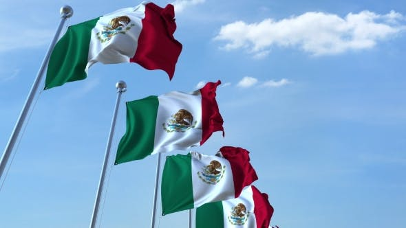 Thumbnail for Row of Waving Flags of Mexico Agaist Blue Sky