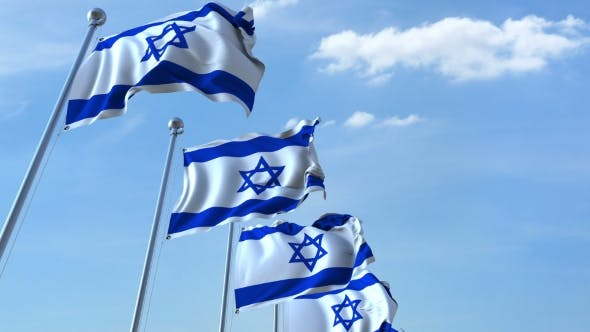 Thumbnail for Row of Waving Flags of Israel Agaist Blue Sky