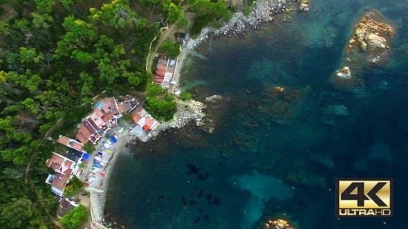 Thumbnail for Mediterranean Fishing Village Aerial Drone View