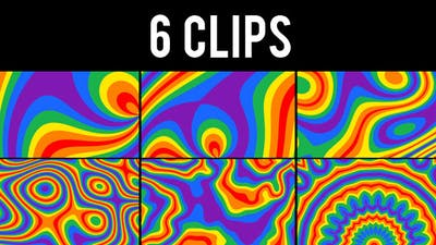 Rainbow Coloured Abstract Background - 6 Clips