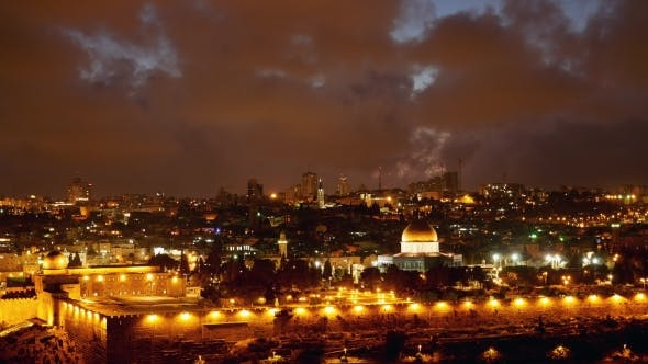 Thumbnail for Bright Jerusalem Old City Lights Over Al Aqsa