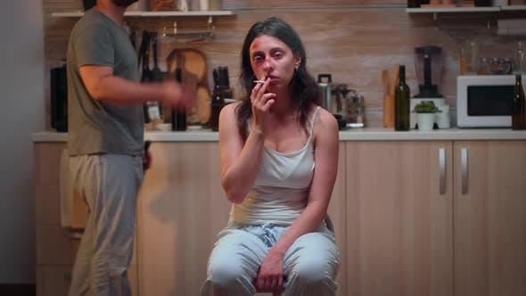 Woman Victim Smoking