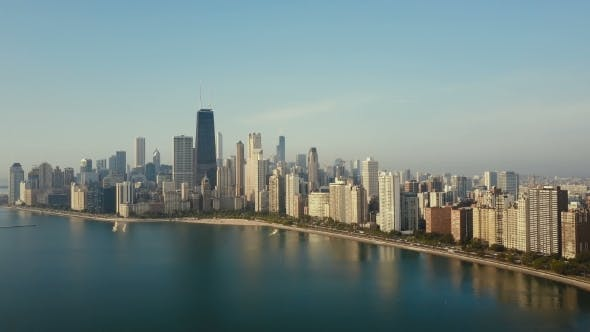 Thumbnail for Aerial View of Panorama of the City on the Shore Chicago, America on the Coast of the Michigan Lake