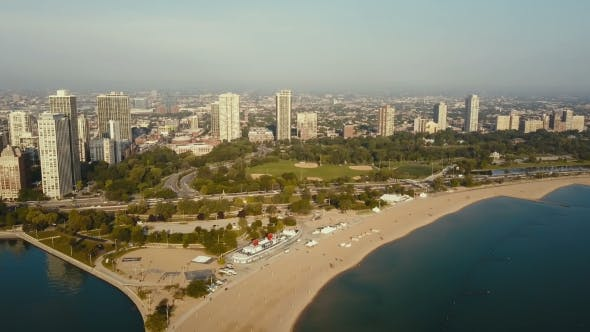 Thumbnail for Aerial View of the Beach on the Shore of the Lake Michigan