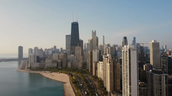 Thumbnail for Aerial View of the Chicago, America. Drone Flying Up To the Downtown, Skyscrapers on the Shore of