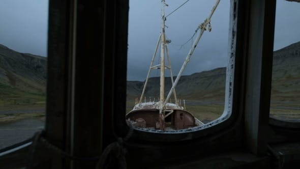 Thumbnail for Shipwreck on a Beach with a Dramatic Sky in Patrekfjordur at the Westfjords