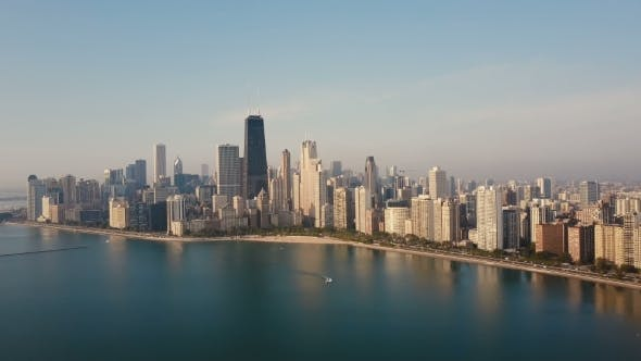 Thumbnail for Aerial View of the Chicago, USA on the Shore of the Lake Michigan