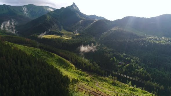 Thumbnail for Aerial View of Hotel in Beautiful Mountains