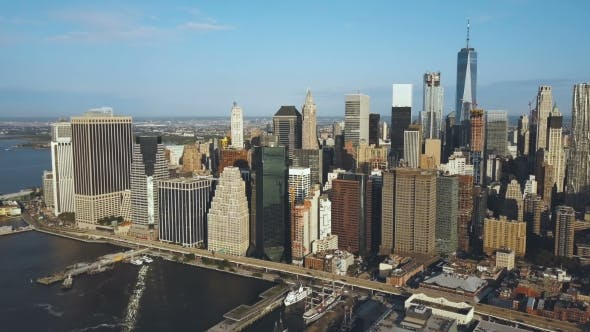 Thumbnail for Aerial View of the Capital of America - New York. Drone Turning Around the Manhattan, East River and