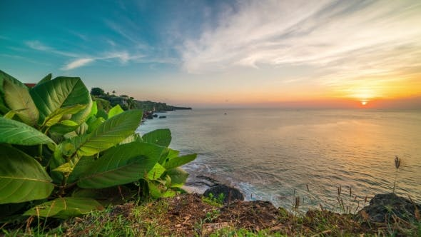 Thumbnail for Sunset  on a Background of Large Tropical Leaves, Rocky Coast and Ocean on the Island of Bali