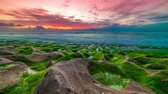 Thumbnail for of Beautiful Sunset on the Balangan Beach with Frozen Volcanic Funnels Covered with Algae on the