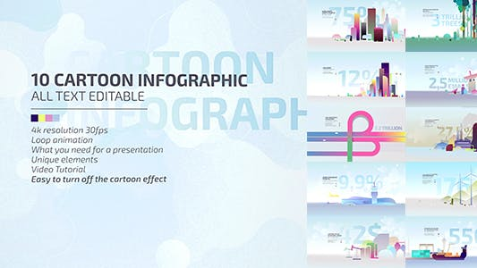 10 Cartoon Infographic/Economic Explainer Vídeo Toolkit 4K/Business Presentation