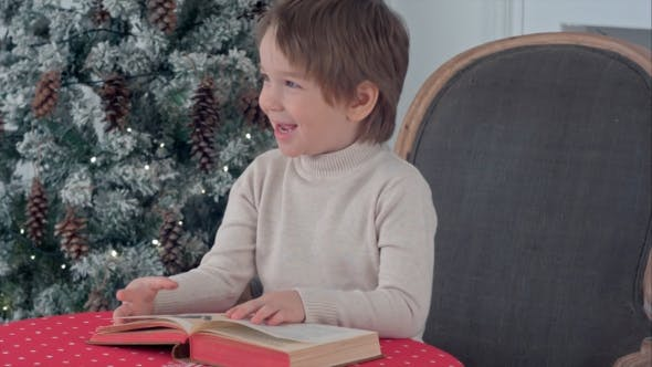 Thumbnail for Cute Child Boy Looking at the Puctures in the Book Sitting on a Chair Near Christmas Tree