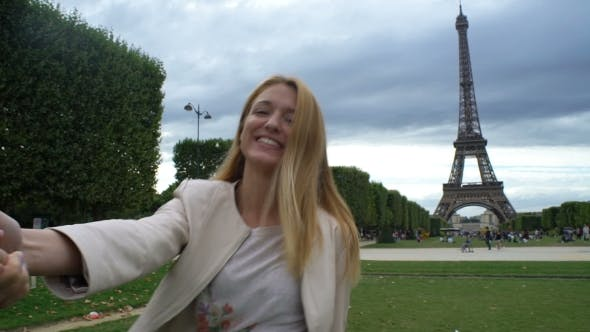 Thumbnail for Follow Me Paris Happy Woman Leading Her Boyfriend To Eiffel Tower