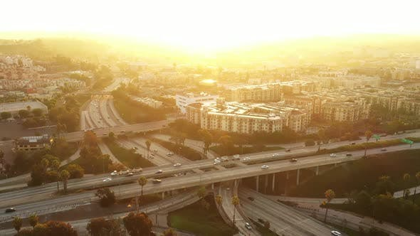 Thumbnail for Aerial shot of one of the many freeways in Los Angeles