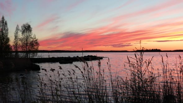 Thumbnail for Crimson Sunset on the Background of the Gulf of Bothnia
