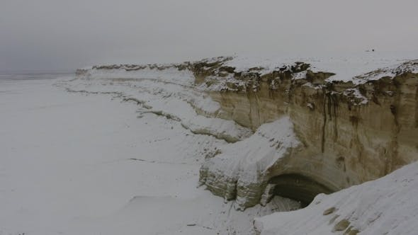Thumbnail for Amazing Aerial View of Snow-covering Sandy Mountains in Western Kazakhstan, Mangyshlak Peninsula