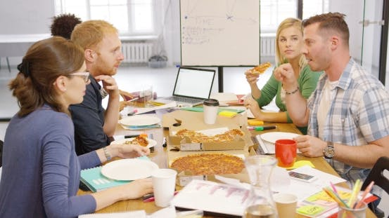 Thumbnail for Young People Enjoying Pizza in Office