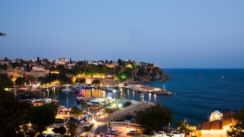 Antalya Old Marina in Turkey at Night