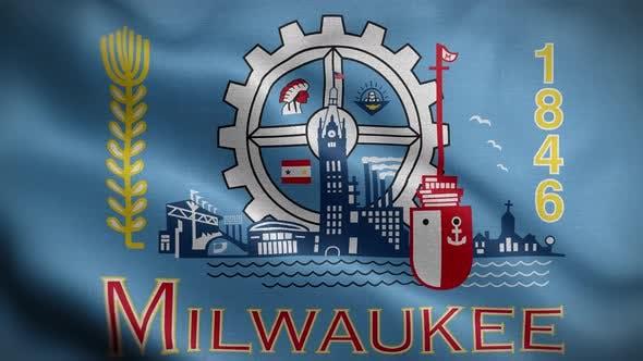 Milwaukee Wisconsin USA Flag Loop Background 4K