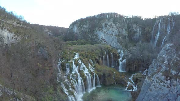 Thumbnail for Aerial of the waterfalls of Plitvice Park