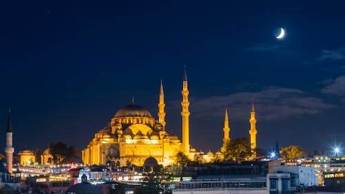Famous Suleymaniye Mosque in Istanbul at Night
