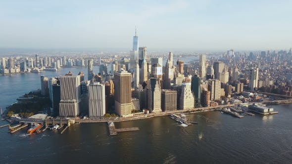 Thumbnail for Aerial View of Busy New York City in America, Manhattan District on the Shore of East River