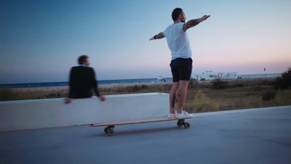 Thumbnail for Skating Longboard on Beach Promenade