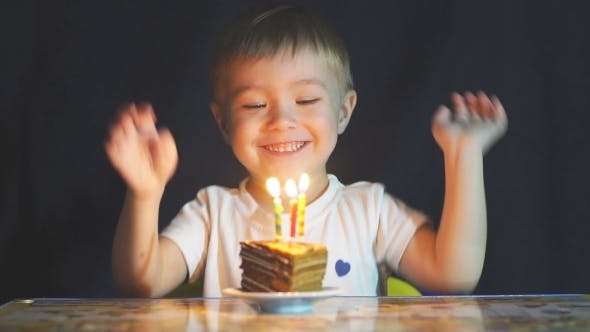 Thumbnail for Adorable Two Year Old Boy Celebrating His Birthday and Blowing