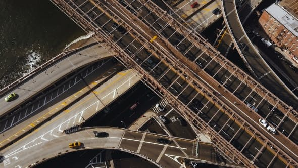 Thumbnail for Aerial View of America, New York Drone Flying Up Over the Traffic Road, Traffic Intersection on