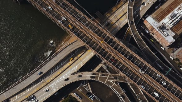 Thumbnail for Aerial Top View of Traffic Road in New York, America. Flying Over Traffic Intersection on