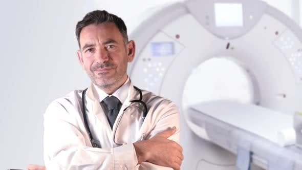 Doctor infront of Ct Scanner