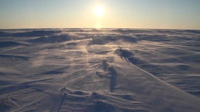 Arctic Blizzard. Arctic snow storm. Snow Drift. Extreme Temperature.