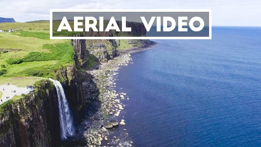 Thumbnail for Aerial Shot of Kilt Rock Waterfall in Scotland