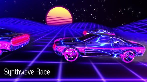 HD Synthwave Race Retrofuturistic Background