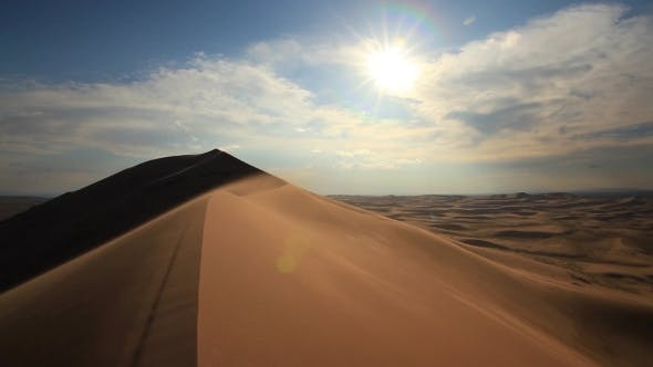 Thumbnail for Beautiful Sunset in the Desert. Sandstorm on the Dune