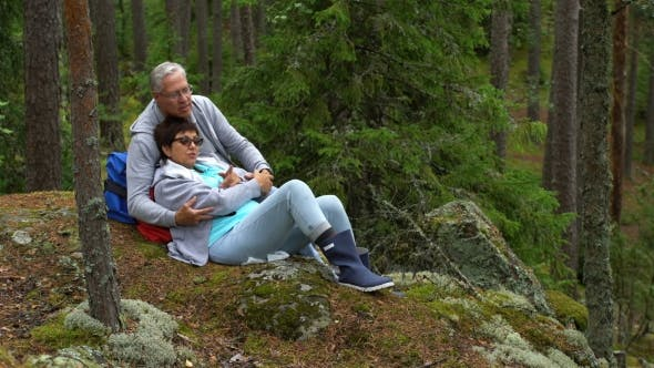 Cover Image for Elderly Active Couple Sitting on a Rock and Admiring the Northern Forest