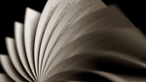 Slowly Turning Yellowed Pages of a Book