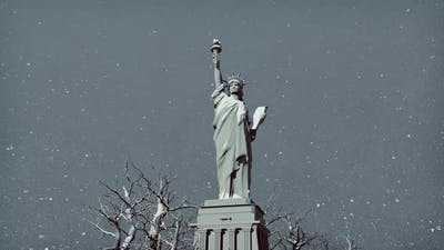 Statue Of Liberty In Winter Weather