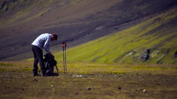 Thumbnail for Man Backpacking in Mountains of Iceland