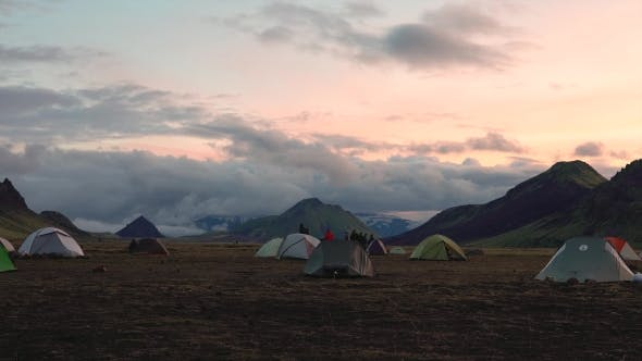 Thumbnail for Campsite in Iceland. Summer Camping, Night