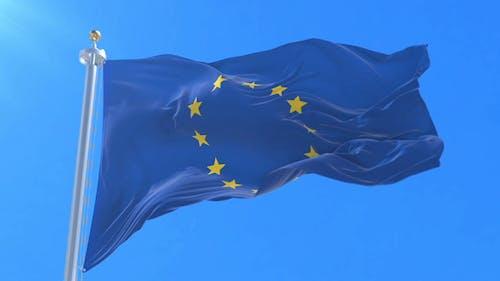 Europe Flag Waving at Wind, Loop