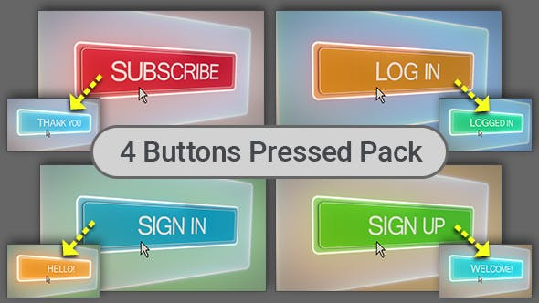 Thumbnail for Subscribe, Login, Sign In, Sign Up Buttons Pressed - 4 Shots Pack
