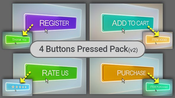 Thumbnail for Register, Add to Cart, Rate Us, Purchase Buttons Pressed - 4 Shots Pack (v2)